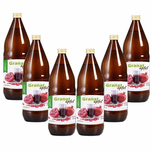 Mynatura Granatapfel Direktsaft, 100% Granatapfelsaft Vegan Muttersaft 6 x 1L