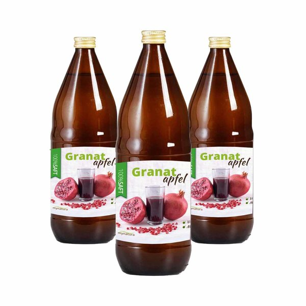 Mynatura Granatapfel Direktsaft, 100% Granatapfelsaft Vegan Muttersaft 3 x 1L