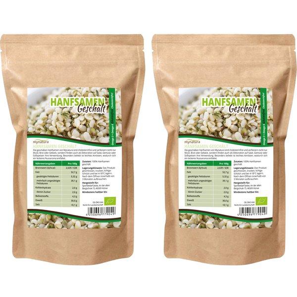 Mynatura Bio Hanfsamen Geschält ( 2x1000g ) Glutenfrei, Cholesterinfrei, für Müsli, Salat und mehr