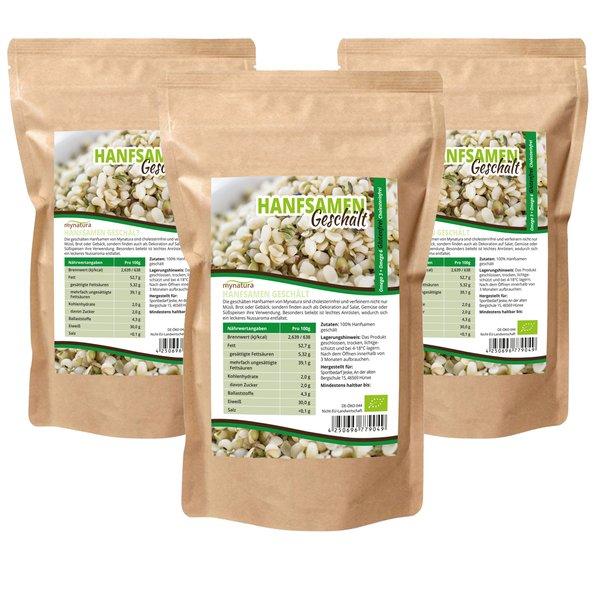 Mynatura Bio Hanfsamen Geschält (3x 1000g) Glutenfrei, Cholesterinfrei, für Müsli, Salat und mehr