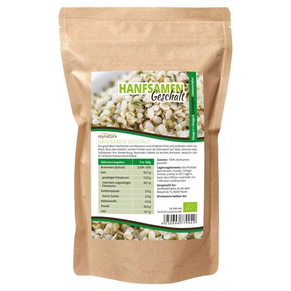 Mynatura Bio Hanfsamen Geschält Glutenfrei Cholesterinfrei für Müsli, Salat und mehr