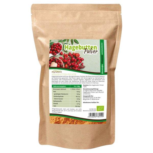 Mynatura Bio Hagebuttenpulver hoher Vitamin C Gehalt, - Hagebutte Wildrose