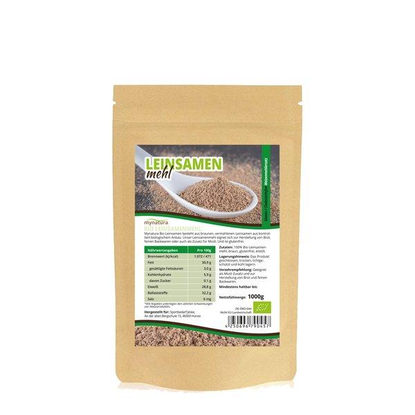 Mynatura Bio Leinsamenmehl - Glutenfrei, Cholesterinfrei, Vegan